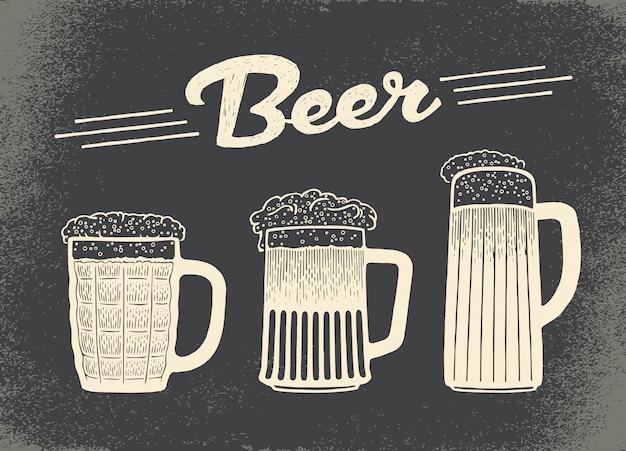 Conjunto de cerveja desenhada de mão
