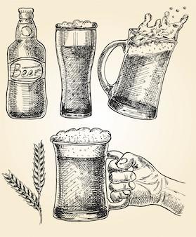 Conjunto de cerveja. ilustração em vetor de copos e caneca, lúpulo, malte e garrafa. oktoberfest
