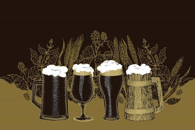 Conjunto de cerveja. ilustração vetorial no estilo de desenho. modelo de bandeira de cerveja desenhada de mão. retro