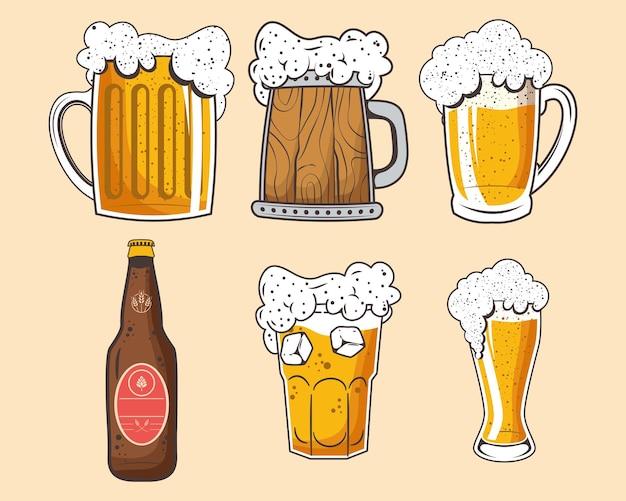 Conjunto de cervejas para seis comemorações da oktoberfest