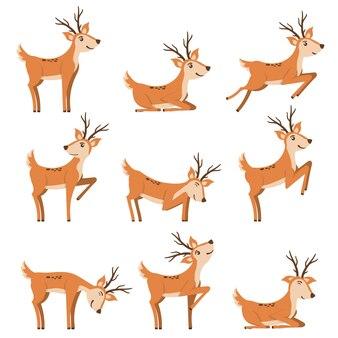 Conjunto de cervos correndo e pulando