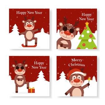 Conjunto de cervos de natal em cartões