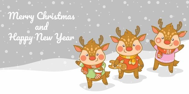 Conjunto de cervos fofos com banner de saudação de natal e ano novo