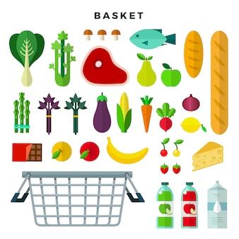 Conjunto de cesta de alimentos.