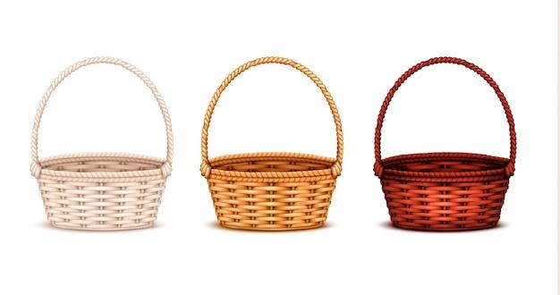 Conjunto de cestas de vime de salgueiro coloridas de madeira branca natural e escura manchada 3 ilustração isolada realista