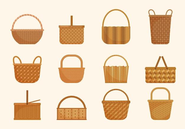 Conjunto de cestas de vime étnico. grandes volumes e pequena cesta