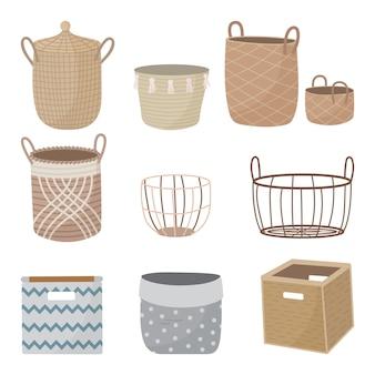 Conjunto de cestas vazias interiores desenhadas à mão