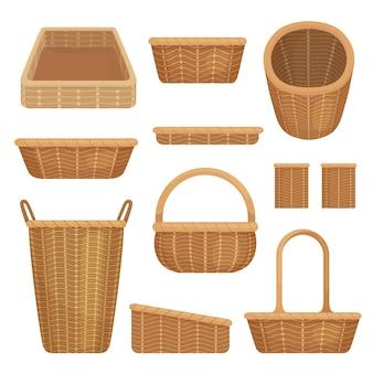 Conjunto de cestas vazias isoladas em ilustração de fundo branco