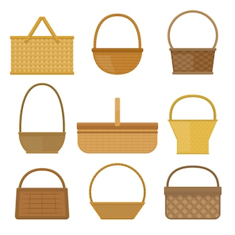 Conjunto de cestas vazias isolado no branco