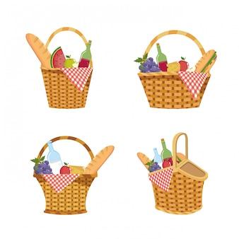 Conjunto de cesto com comida e toalha de mesa