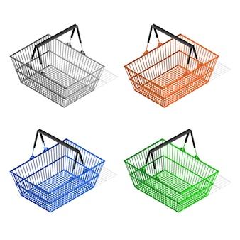 Conjunto de cesto de compras de plástico colorido. equipamento para o comprador.