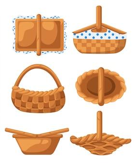 Conjunto de cestos de vime. veja de diferentes ângulos. ilustração em fundo branco. página do site e aplicativo para celular