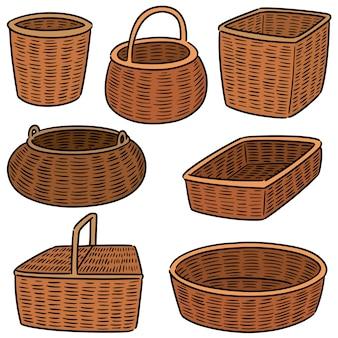 Conjunto de cestos de vime