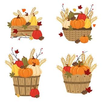 Conjunto de cestos e abóboras com folhas e trigo