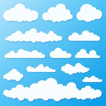 Conjunto de céu azul e nuvens.