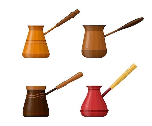 Conjunto de cezve de café isolado. taça com pega para fazer café no fogão. potes de café turco. cafeteiras desenhadas à mão.