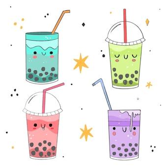 Conjunto de chá bolha kawaii