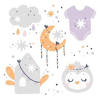 Conjunto de chá de bebê, elementos bonitos de berçário, estampa infantil
