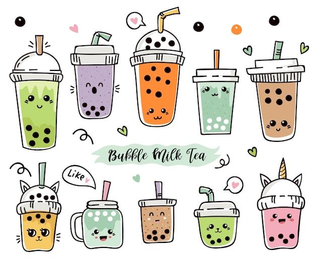 Conjunto de chá de bolha fofa de desenho animado ou chá de pérola