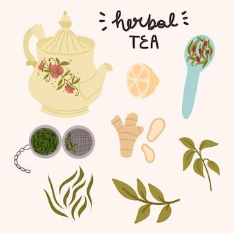 Conjunto de chá de ervas, cartão comemorativo, banner, adesivos etc.