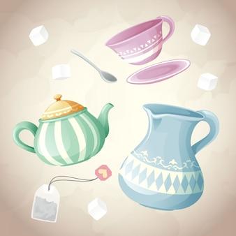 Conjunto de chá de recipiente e objeto de açúcar