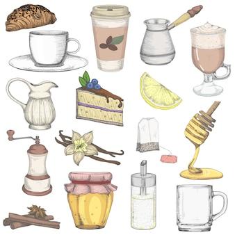 Conjunto de chá e café Vetor Premium