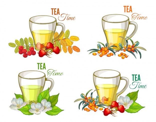 Conjunto de chá e frutas.