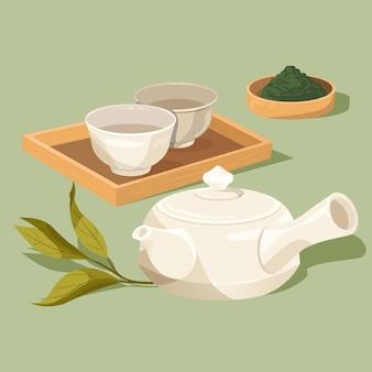 Conjunto de chá japonês e xícaras