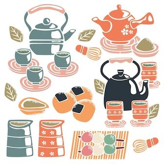 Conjunto de chá japonês fofo pintado à mão
