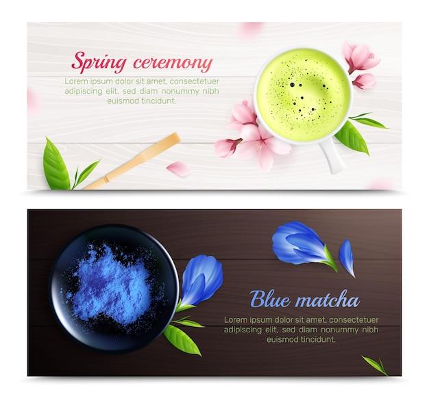 Conjunto de chá matcha de banners horizontais com flores e folhas realistas