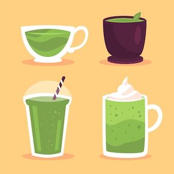 Conjunto de chá matcha ilustrado