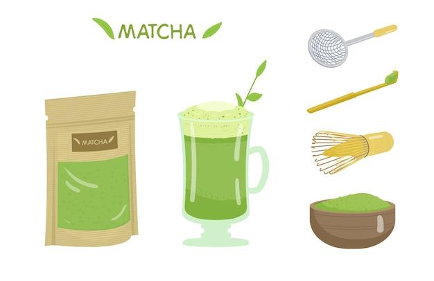 Conjunto de chá matcha.