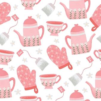 Conjunto de chá sem costura bonito desenhado à mão pastel de pêssego padrão para plano de fundo e tecido