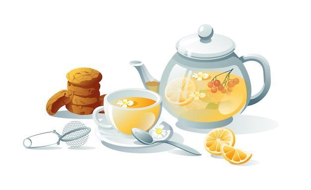 Conjunto de chá verde, à base de ervas, preto. bules, xícaras, saquinhos de chá, coador, biscoitos. os objetos são isolados em um fundo branco.