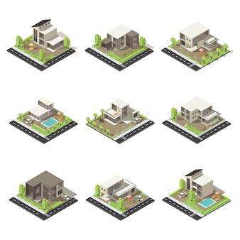 Conjunto de chalés e mansões isométricas