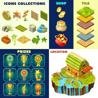 Conjunto de chalés isométricos e elementos de jogo