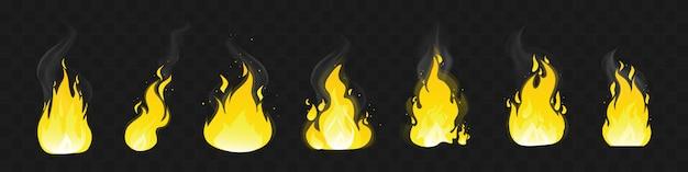 Conjunto de chama brilhante de fogo vermelho. coleção de chamas