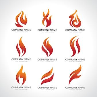 Conjunto de chama de logotipo e fogo isolado no branco