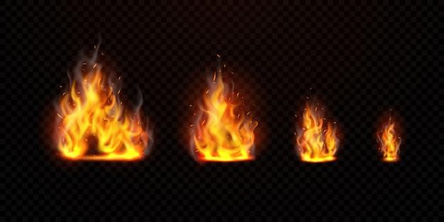 Conjunto de chama virtual pode ser separado de um fundo transparente