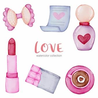 Conjunto de chamada de amor, elemento de conceito isolado aquarela valentine adorável romântico vermelho-rosa corações para decoração, ilustração.