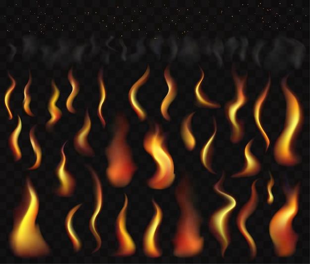 Conjunto de chamas de fogo fumaça e faíscas ardentes. conjunto de efeitos de luz ardentes transparentes.
