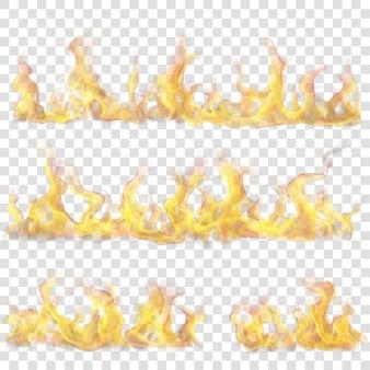 Conjunto de chamas de fogo horizontais em fundo transparente