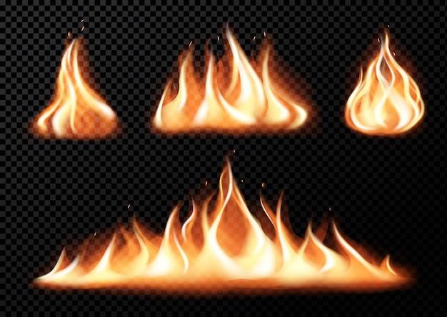 Conjunto de chamas de fogo realista de vários tamanhos com faíscas em ilustração vetorial de fundo transparente preto isolado