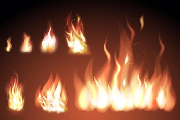 Conjunto de chamas de fogo realistas com brilhos