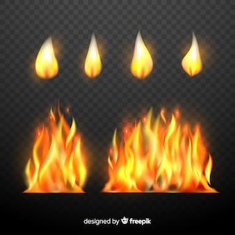 Conjunto de chamas de fogo realistas
