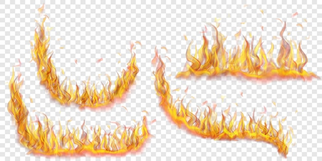 Conjunto de chamas de fogo translúcidas de várias formas em fundo transparente. para uso em ilustrações leves. transparência apenas em formato vetorial