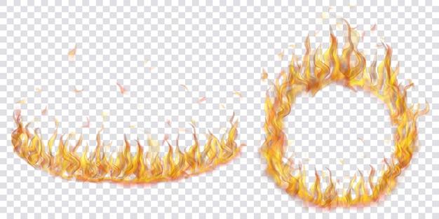 Conjunto de chamas de fogo translúcidas em forma de arco e círculo sobre fundo transparente. para uso em ilustrações leves. transparência apenas em formato vetorial
