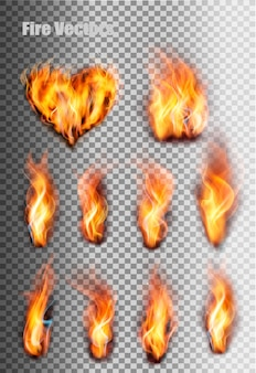 Conjunto de chamas de fogo. vetor.