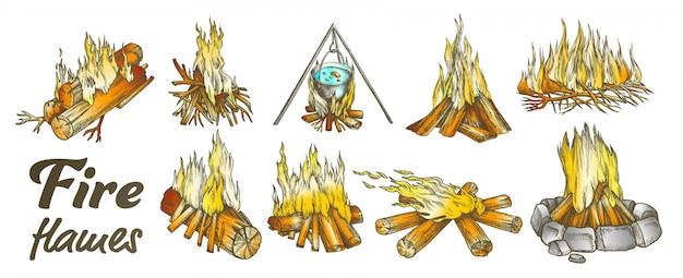 Conjunto de chamas de fogo