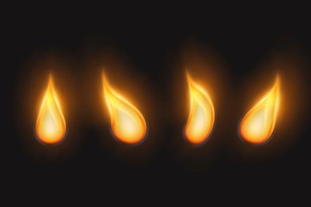 Conjunto de chamas douradas de velas